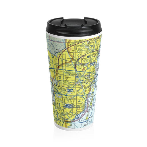 Metro Miami Map on Stainless Steel Travel Mug - Red Bear Brands