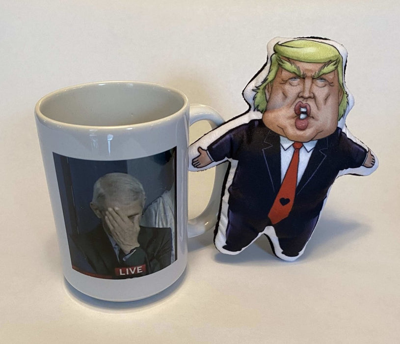 Trump Squeaky Pet Toy + Fauci 15oz Ceramic Mug = Amazing Gift - Red Bear Brands