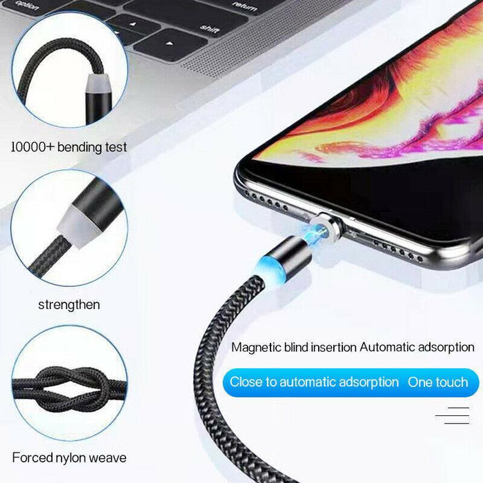 Uber/Lyft Magnetic Charging Cable 3-in-1 Micro-USB, USB-C, Lighting for iOS - Red Bear Brands