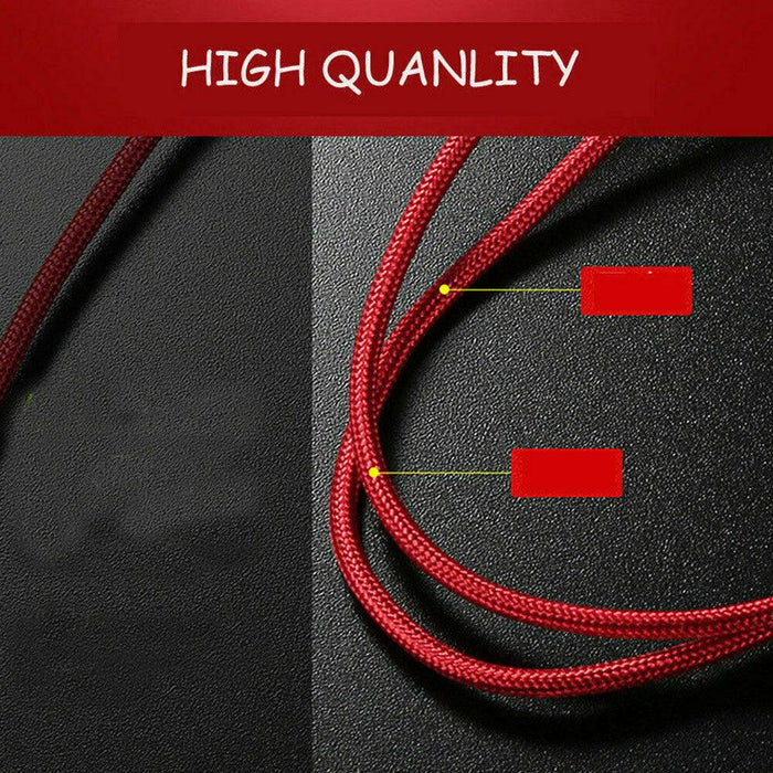 USB 3-in-1 Cable Great for Uber/Lyft Drivers iOS, Micro-USB and USB-C Tips 3ft Nylon - Red Bear Brands