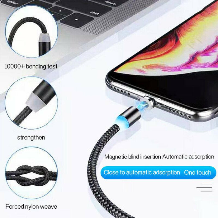 USB 3-in-1 Magnetic Cable Great for Uber/Lyft Drivers iOS, Micro-USB and USB-C Tips 3ft Nylon - Red Bear Brands