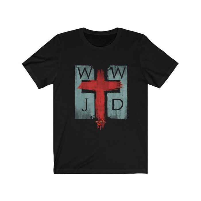WWJD | Believe T-Shirt Design on Dark Unisex Jersey Short Sleeve Tee - Red Bear Brands