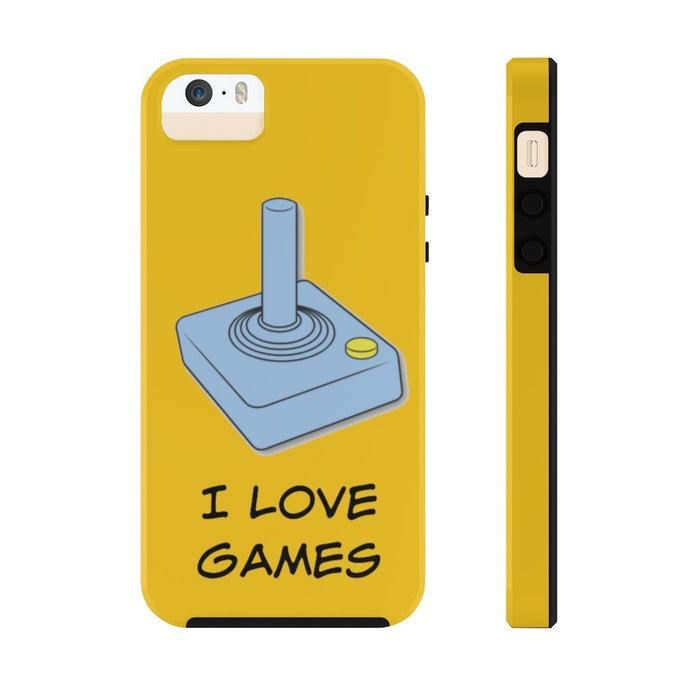 Yellow I Love Games Case Mate Tough Phone Cases - Red Bear Brands