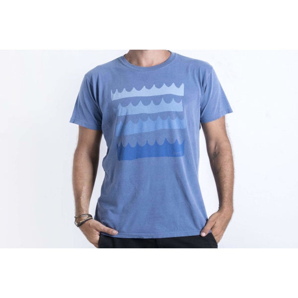 Unisex Apparel Tee Shirt - Washed Blue with Crown