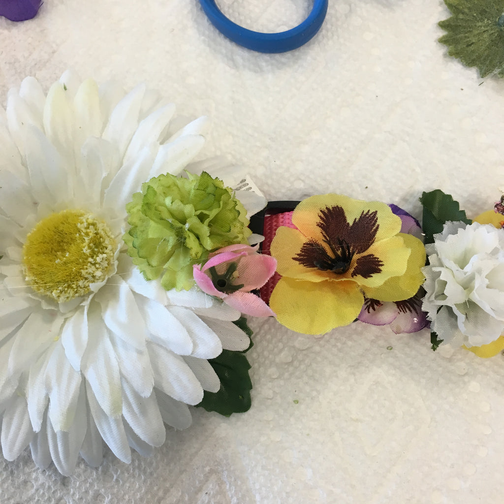 flower wedding diy project dog collar pet of honor