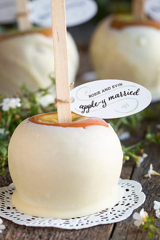 caramel apple wedding favors, caramel apples, apple wedding favor, unique caramel apple wedding favor, itop 10 unique wedding favors, unique wedding favors, wedding favors