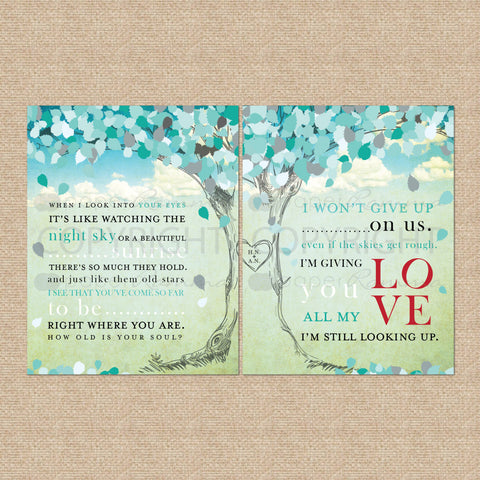 Unique Anniversary Gifts for Him – Lyric Tree Prints from PaperRamma