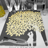 Wedding Guestbook Signature Tree, Personalized Skyline & Silhouette/Art Print or Canvas Wrapped Keepsake