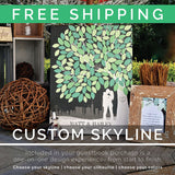 Wedding Signature Tree Personalized Canvas Skyline & Silhouette Keepsake