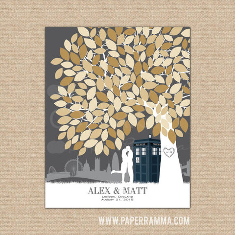 Doctor Who TARDIS Wedding, Alternative Guest Book, Wedding Tree Guest Book, Wedding Keepsake