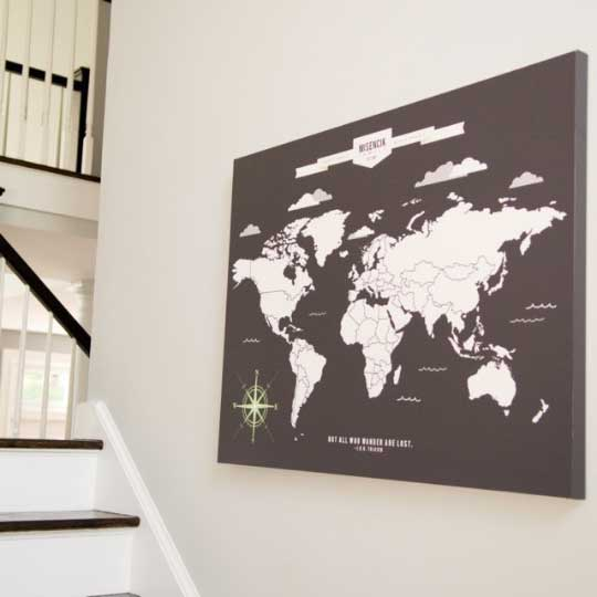 Personalized World Travel Map With Push Pins 76thandnewbury – Travel Wall Maps With Pins