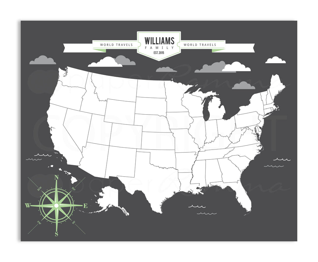 USA Travel Map, A Personalized United States Travel Map