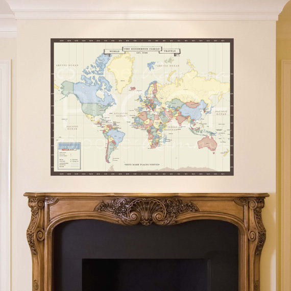 Vintage World Map Canvas Print: Mark your Travels, Interactive Family Map