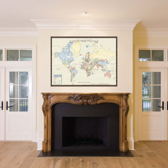 Vintage world map canvas print mark your travels interactive vintage world map canvas print mark your travels interactive family map gumiabroncs Images