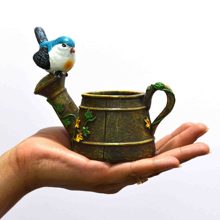 Antique look Watering Can with Bird Design Resin Pot For Succulent Plants - My Star Gardens