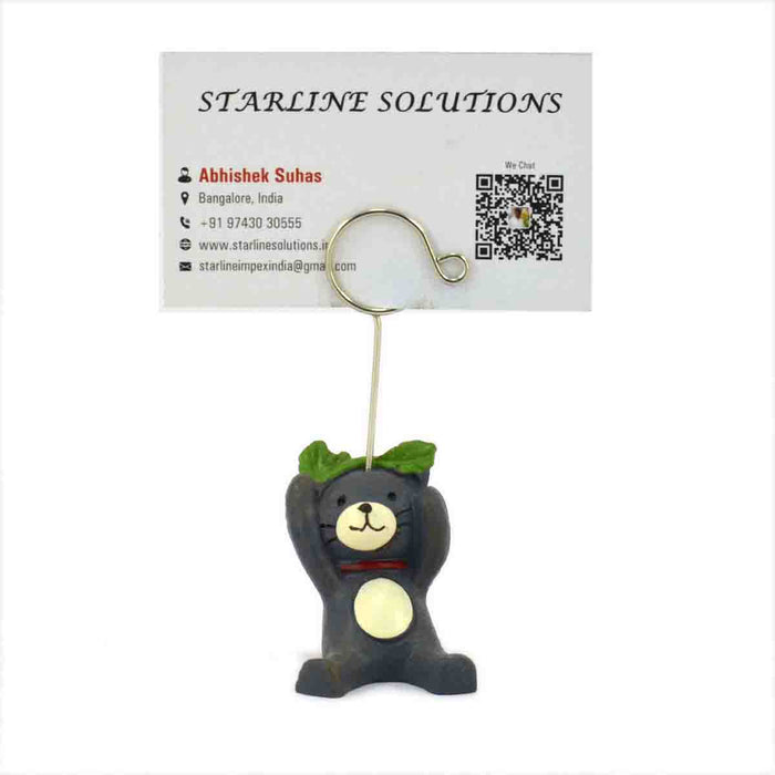 Cute and Attractive Blue Bear Closing Mouth Business Card Holder.