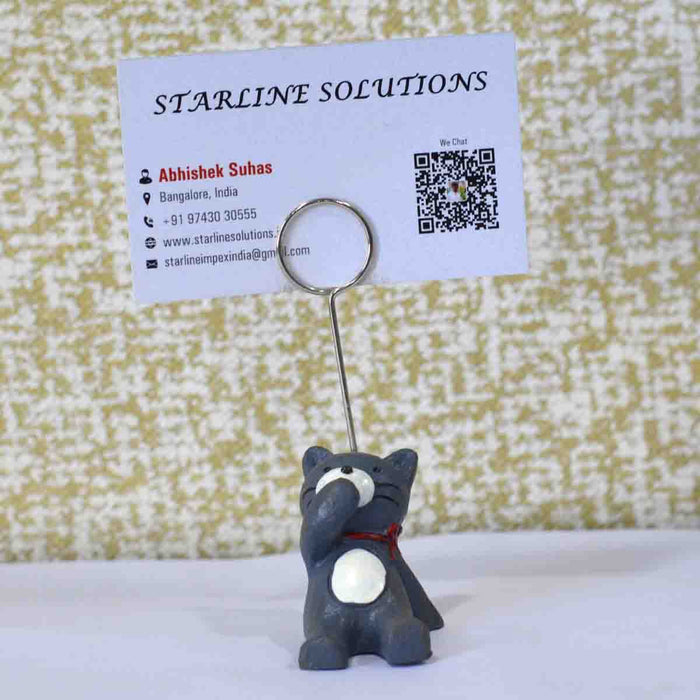 Cute & Attractive Blue Bear Closing Ears Business Card Holder - My Star Gardens
