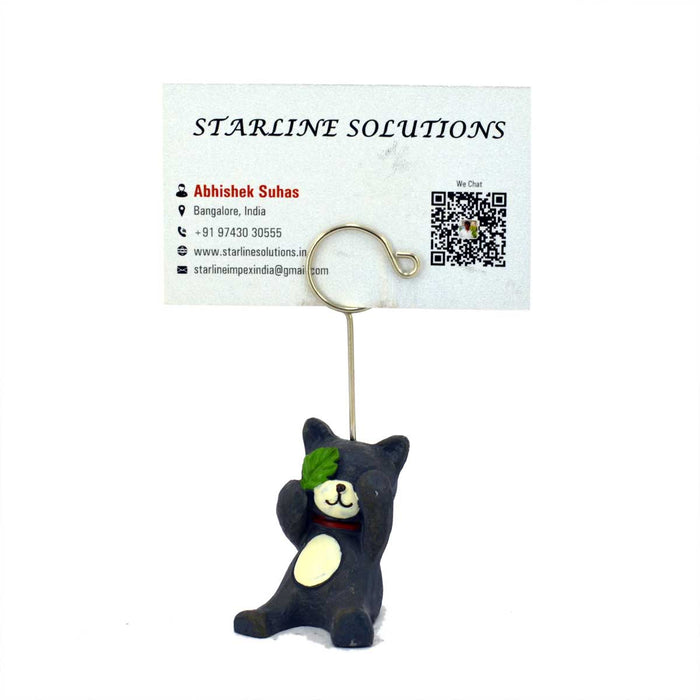 Cute & Attractive Blue Bear Closing Eyes Business Card Holder