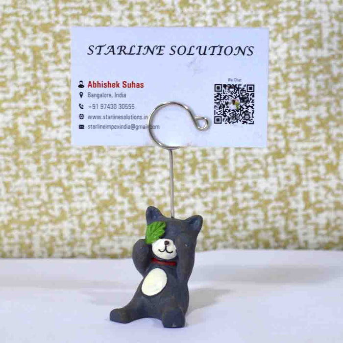 Cute & Attractive Blue Bear Closing Eyes Business Card Holder - My Star Gardens
