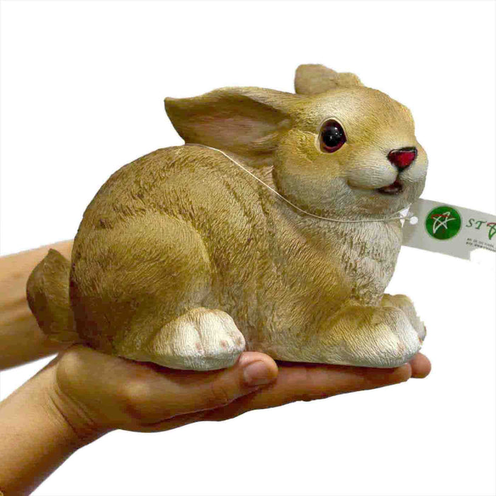 Cute and Realistic Rabbit Sitting Right Resin Show Piece - My Star Gardens