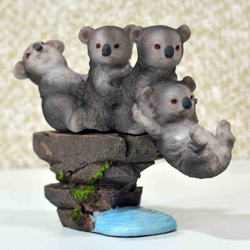 Cute Playful Baby Pandas with Rock Base Design Show Piece - My Star Gardens