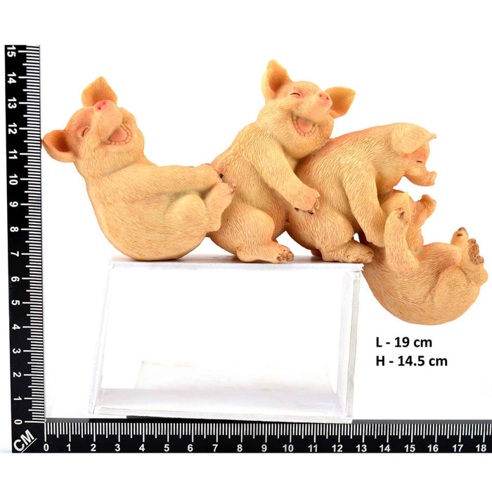 Adorable Playful Baby Piggies with Straw Bale Base Design Show Piece - My Star Gardens