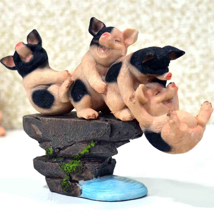 Adorable Playful Baby Piggies with Stone Base Design Show Piece - My Star Gardens
