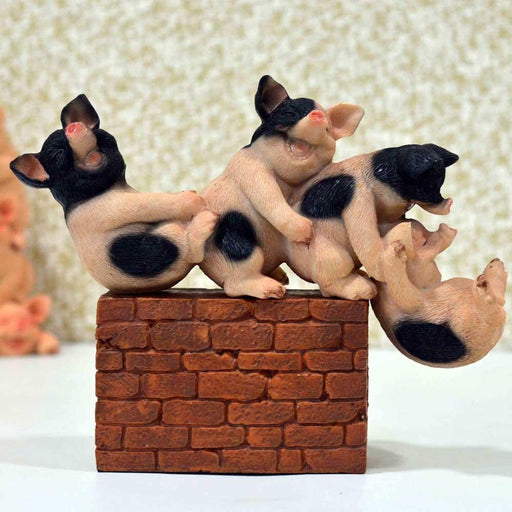 Adorable Playful Baby Piggies with Brick Base Design Show Piece - My Star Gardens