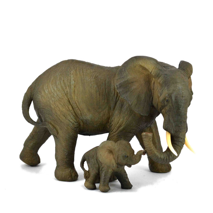 Attractive African Mother and Baby Elephants Trunk Down Right Show Piece - My Star Gardens