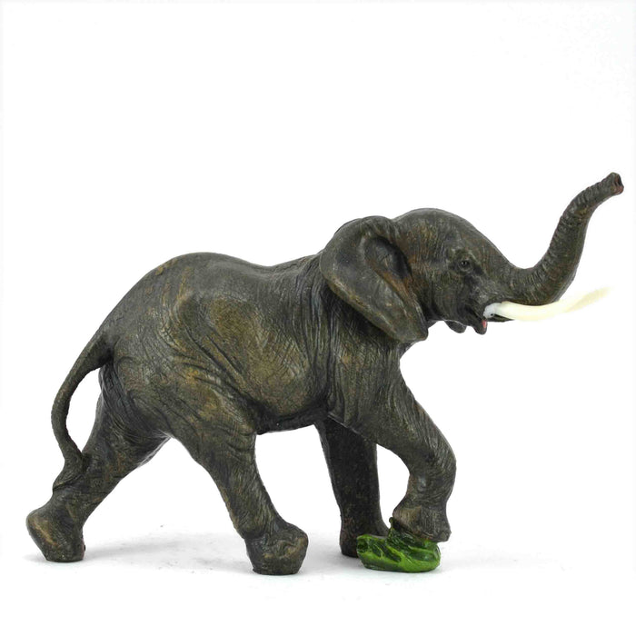 Attractive African Adult Elephant Stamping Green Stone Trunk Up Show Piece - My Star Gardens