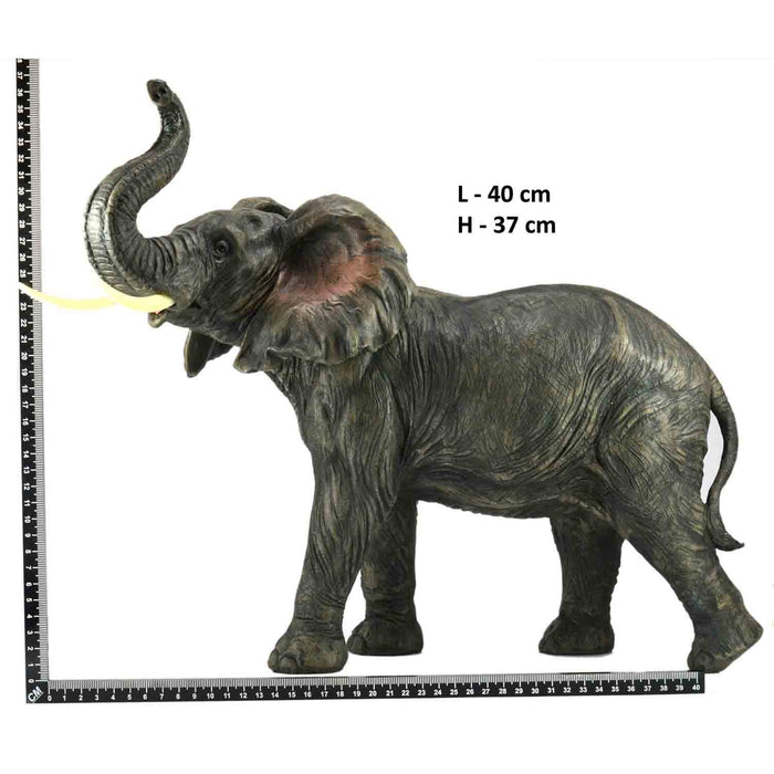 Attractive Big African Adult Elephant Trunk Up Left Design Show Piece - My Star Gardens