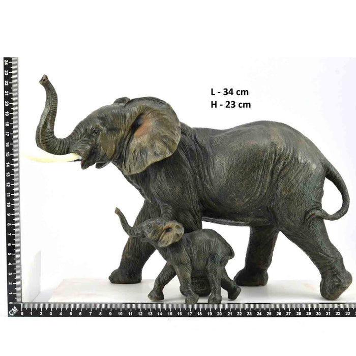 Attractive African Mother and Baby Elephants Trunk Up Left Design Show Piece - My Star Gardens