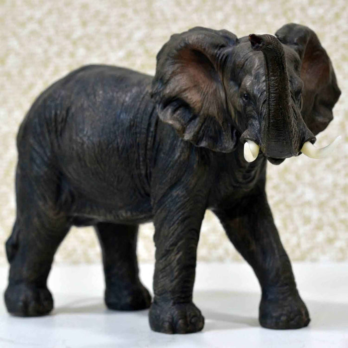 Attractive African Adult Elephant Trunk Up Right Design Show Piece - My Star Gardens