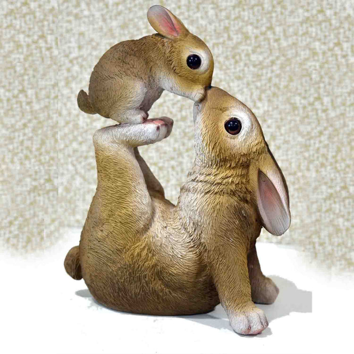 Cute and Realistic Mother and Baby Rabbits Showpieces - My Star Gardens