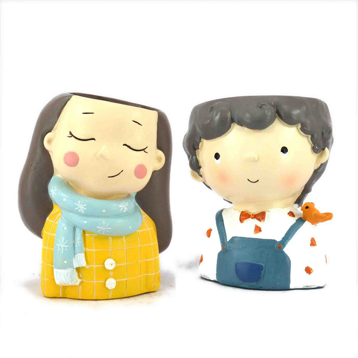 Combo Offer Boy & Girl with Scarf Resin Pots for Succulent Plants.