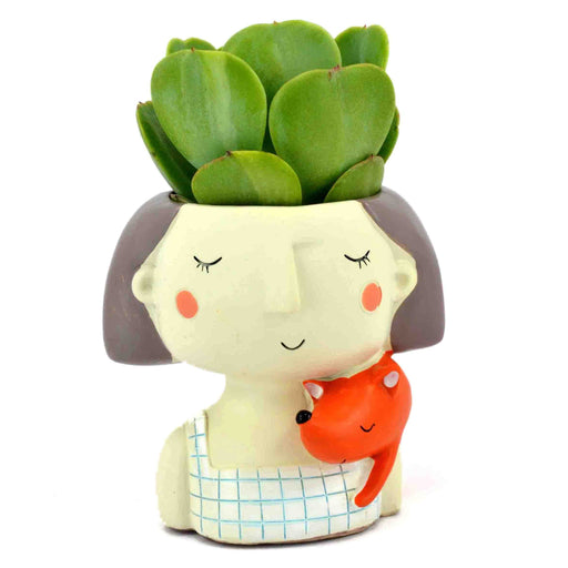 Dreamy Girl with Fox Design Tabletop Succulent Plant Pots - My Star Gardens
