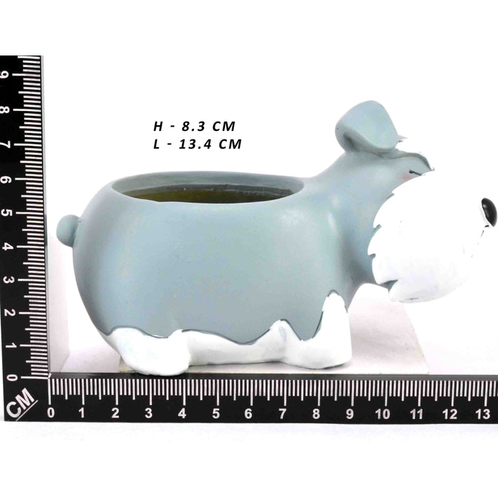 Cute white and blue Dog Design Tabletop Succulent Plant Pots - My Star Gardens
