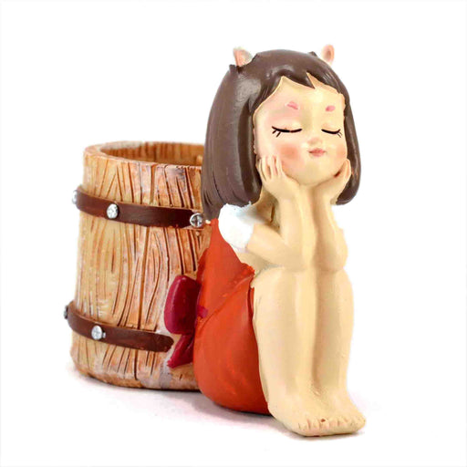 Cute Dreaming Girl With a Barrel Design Resin Pot For Succulent Plants - My Star Gardens