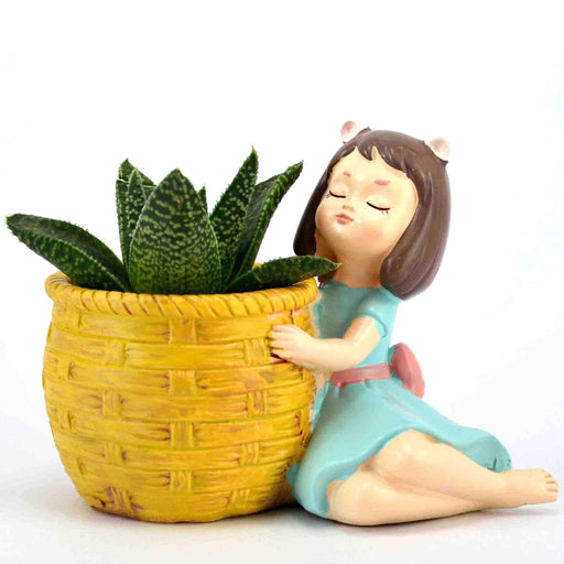 Cute Dreaming Girl With Basket Resin Pot For Succulent Plants - My Star Gardens