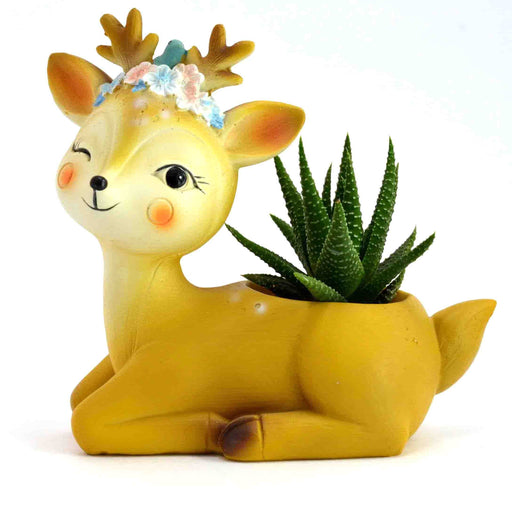 Cute and Happy Sitting Deer Design Resin Pot For Succulent Plants - My Star Gardens