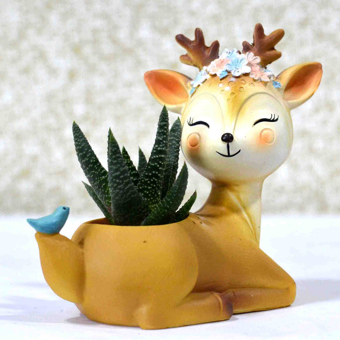 Happy and Dreamy Deer with Bird Design Resin Pot For Succulent Plants - My Star Gardens