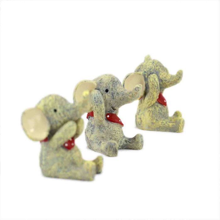 Cute and Attractive Resin made Miniatures Wise Baby Elephants - My Star Gardens