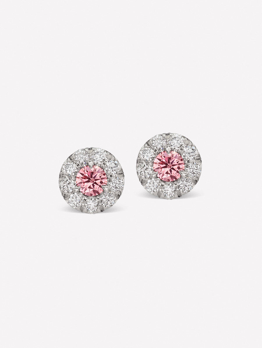 natural Argyle Pink Diamond Studs by J F I N E  | deep pink color | vivid
