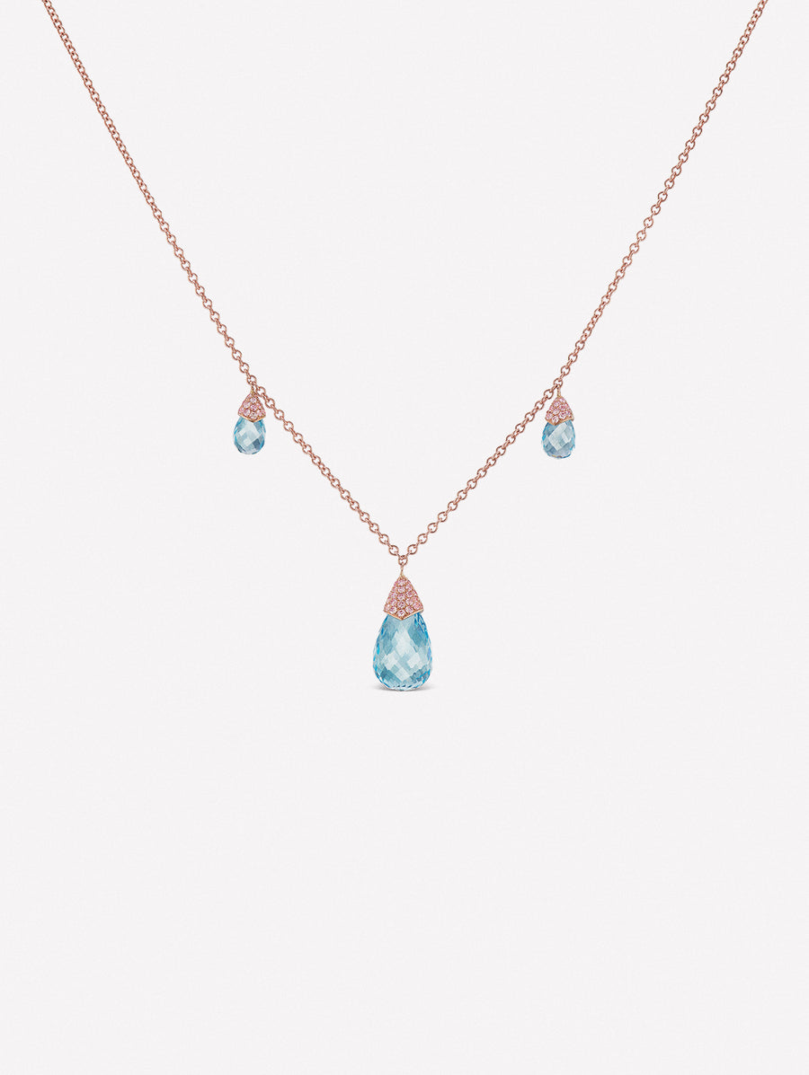 Aquamarine briolettes necklace with Argyle Pink Diamonds