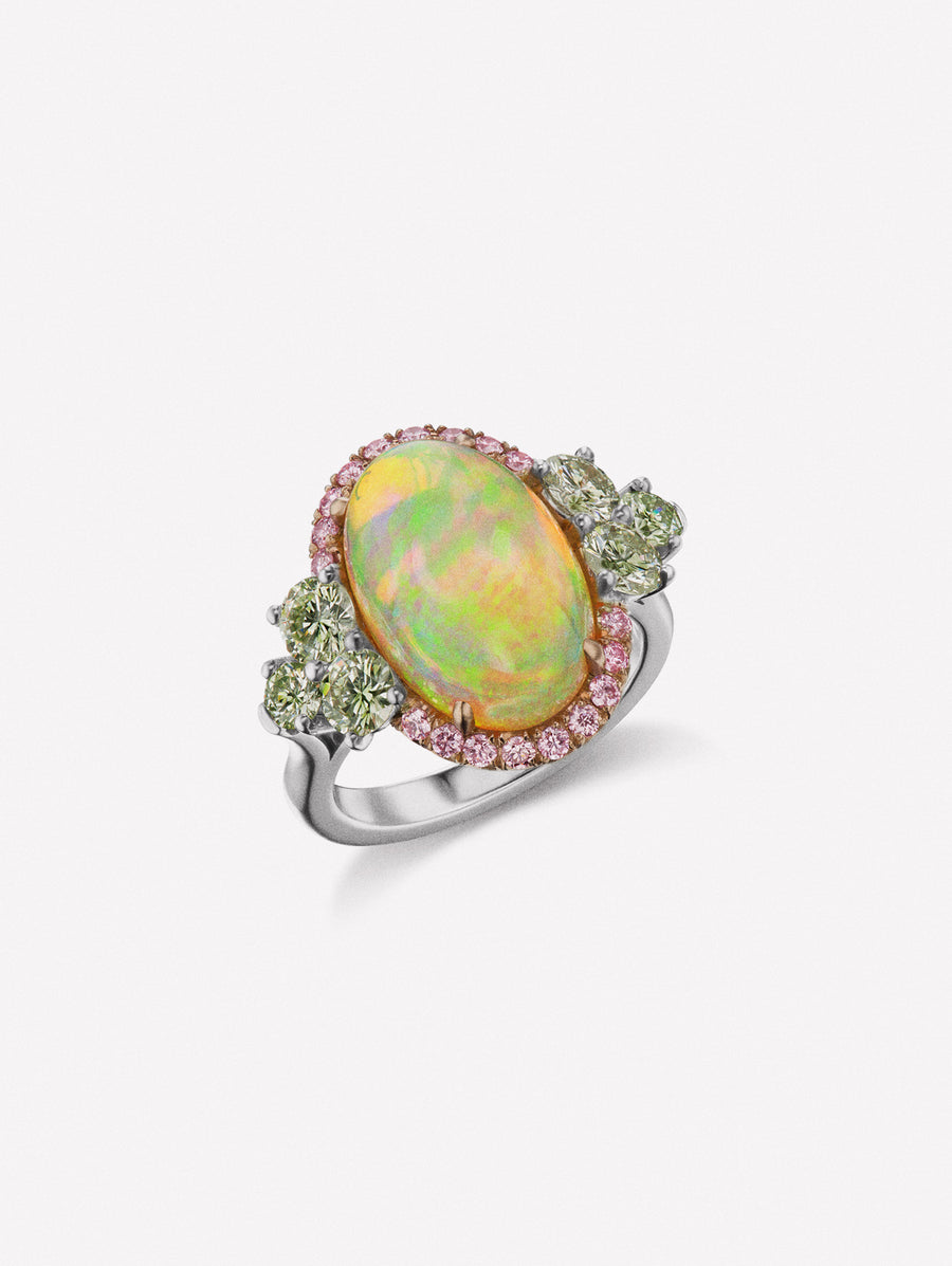 Pink diamond and opal ring. Cabochon opal surrounded by Argyle Pink Diamonds and flanked by green diamonds
