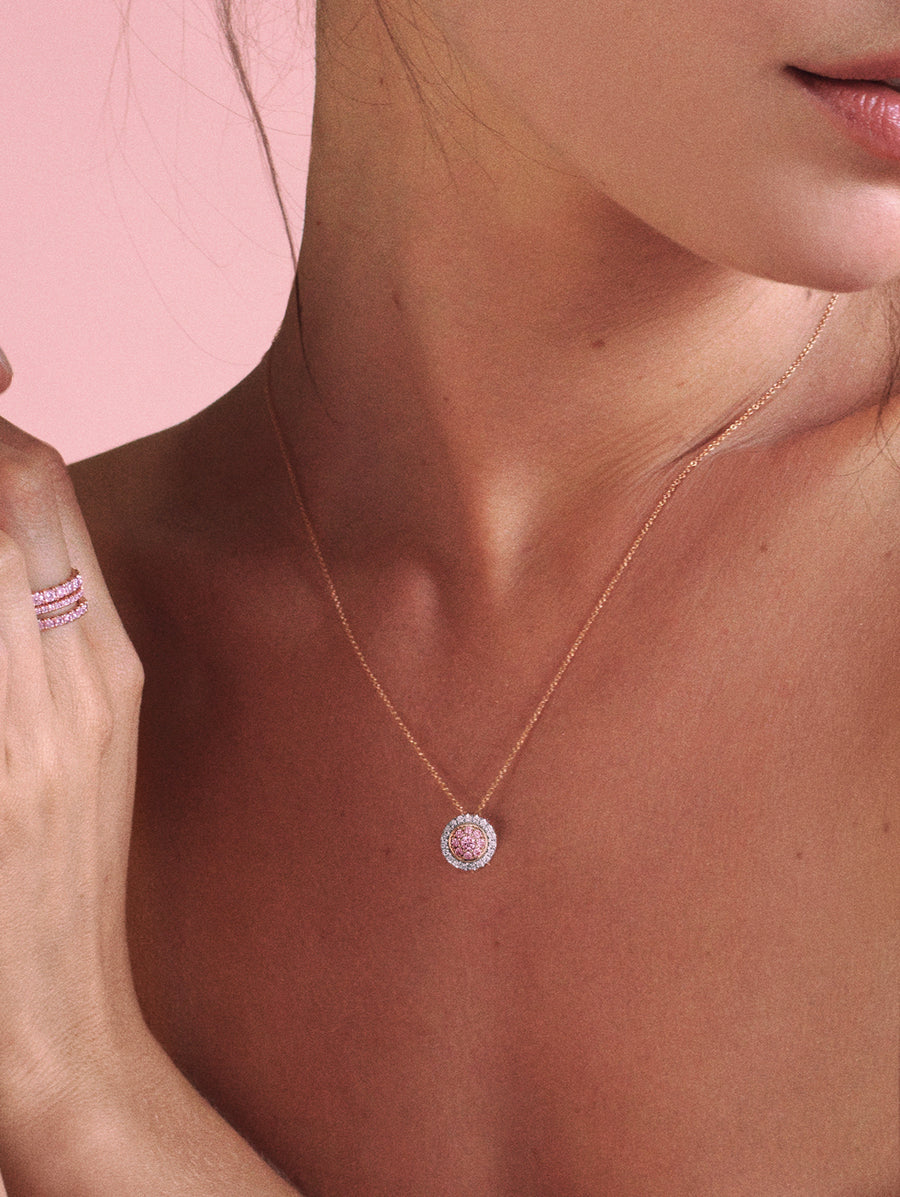 Woman wearing J Fine Argyle Pink™ Diamond Double Halo Necklace