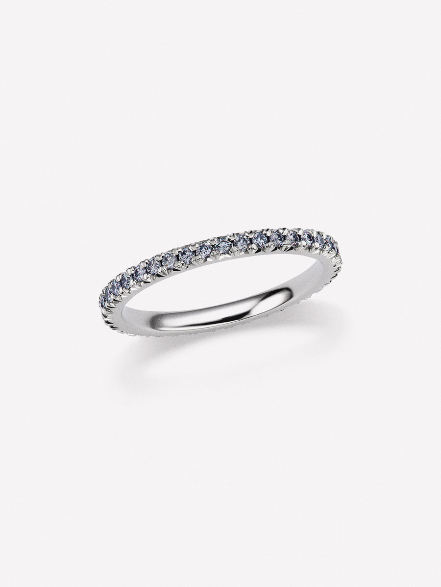 Blue diamond french pave eternity band