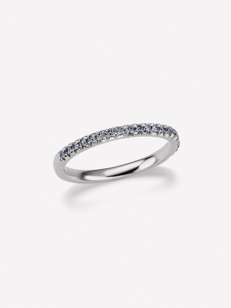 Blue diamond half french pave eternity band
