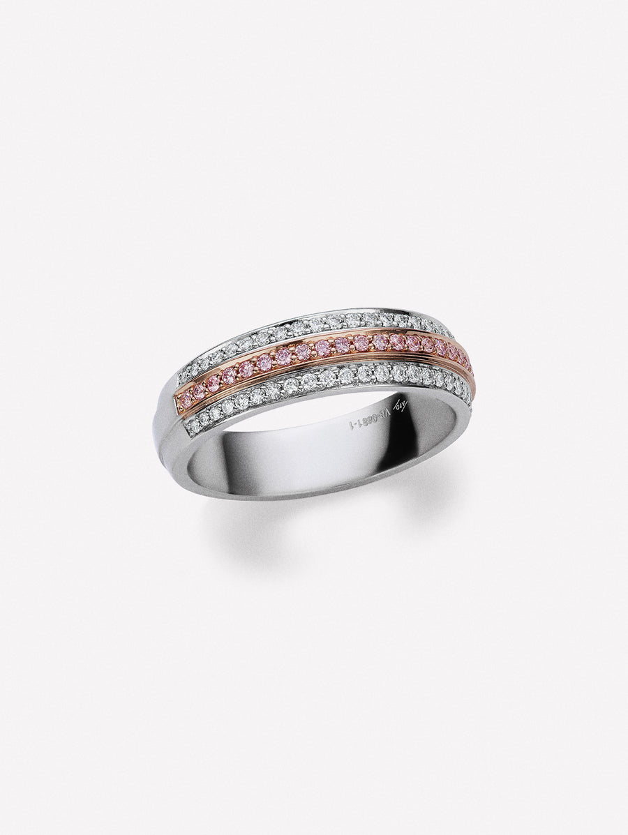3-row Half-eternity band with Argyle pink diamonds and white diamonds by J F I N E  in Platinum and 18K
