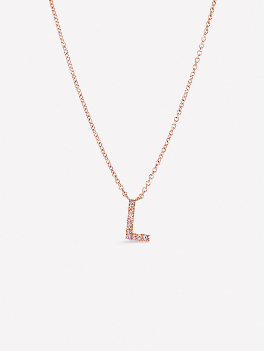Argyle pink diamond letter necklace